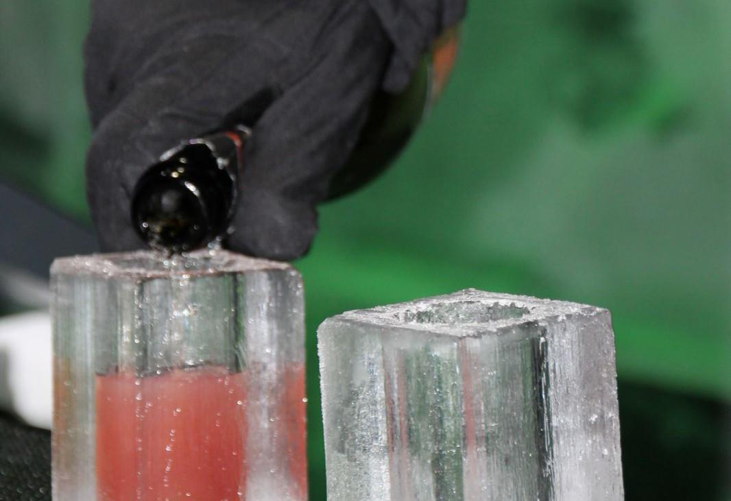Glas aus Eis gemacht