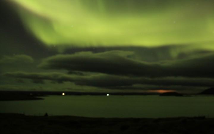 Nordlichter am See Myvatn in Island