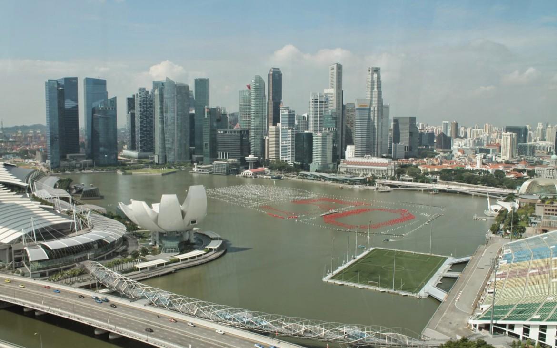 Skyline aus Singapore Flyer